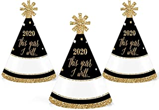 New Year's Eve - Gold - Mini Cone 2020 New Years Eve Resolution Party Hats - Small Little Party Hats - Set of 10