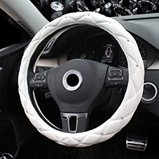 Amuahua Car Steering Wheel Cover, 38CM/15 Universal PU Leather DAD Cystal Diamond Steering Wheel Cover Four Seasons Steering Cover for Women & Girl(White)