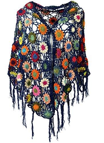 Guru-Shop Häkelstola, Hippie Blümchen Häkelschal, Herren/Damen, Blau, Baumwolle, Size:One Size, Schals Alternative Bekleidung