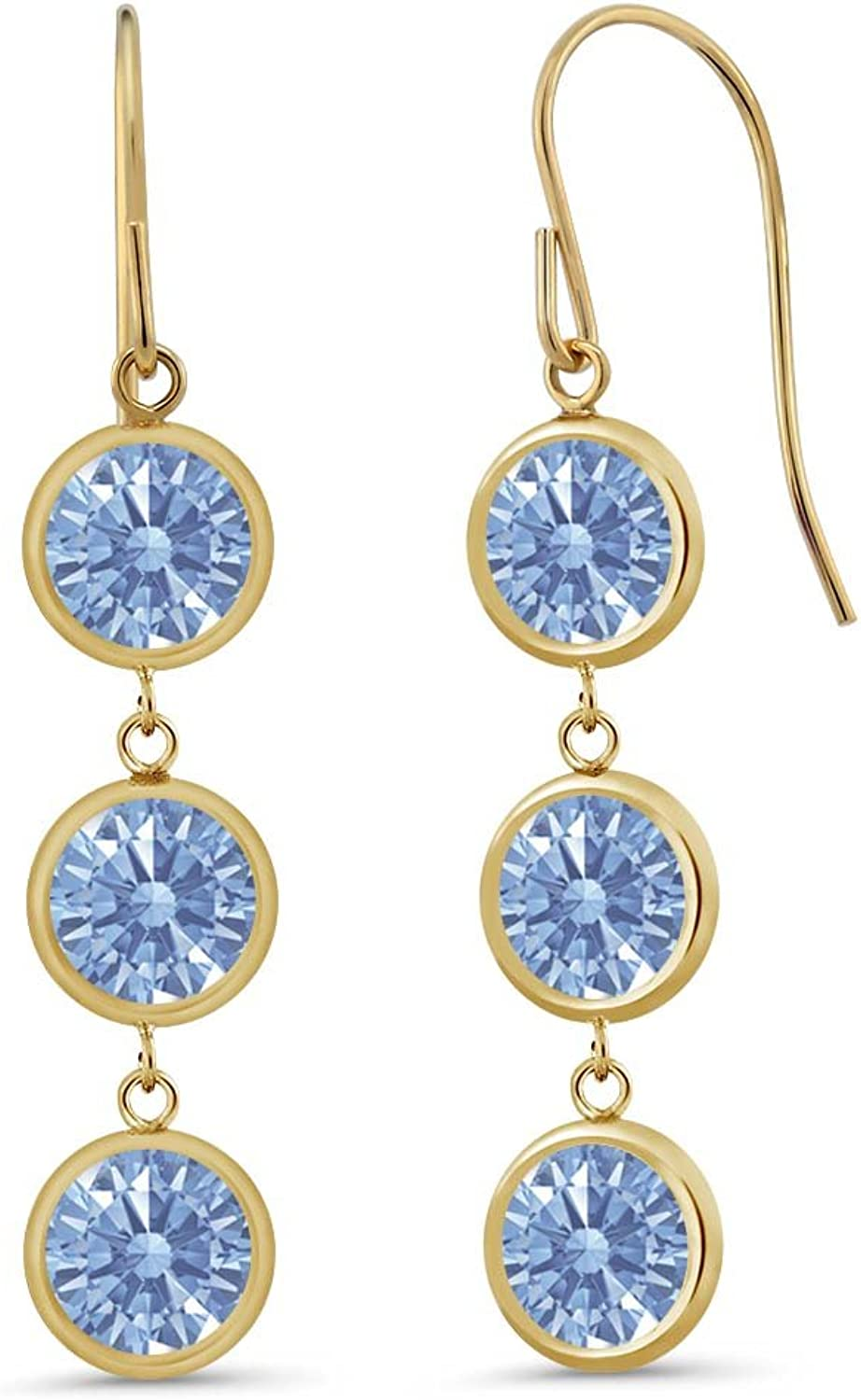 2.76 Ct Lavender 14K Yellow gold Earrings Made With Swarovski Zirconia