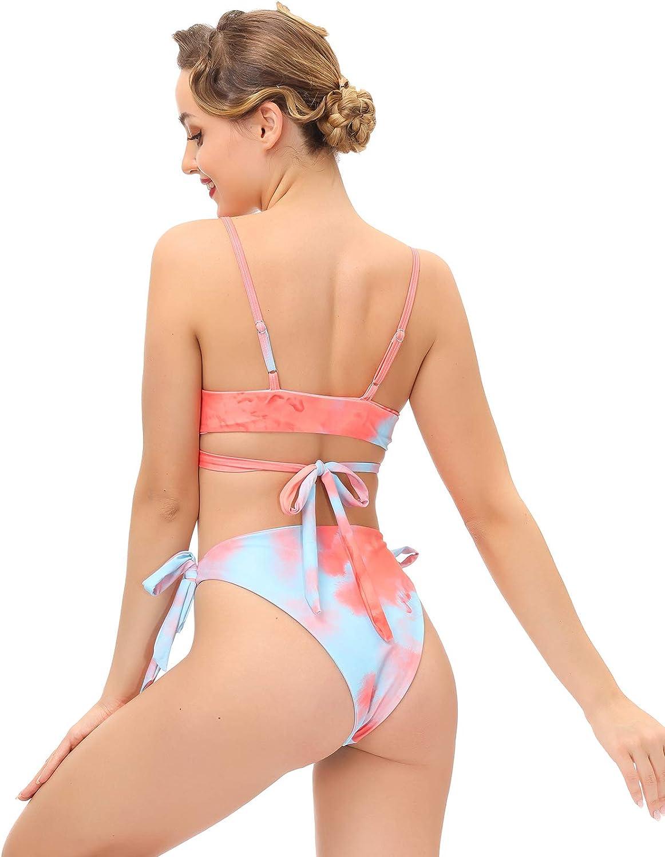 Belle Poque Women Two Piece Swimsuits Ruffle Criss Cross Bikini Bathing Suits BPX6S21