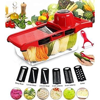FUKTSYSM Mandoline Slicer - Vegetable Slicer 6 Adjustable Blades with Peeler, Vegetable Cutter, Potato Slicer