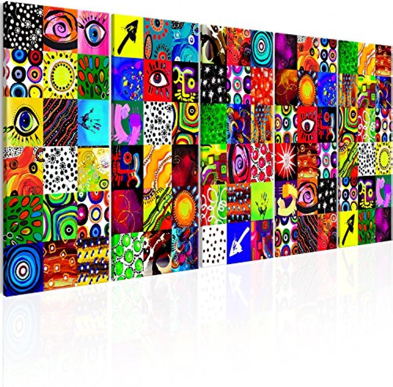 Murando Akustikbild Abstrakt bunt 225x90 cm Bilder Hochleistungsschallabsorber Schallschutz Leinwand Akustikdmmung 5 TLG Wandbild Raumakustik Schalldmmung - Design a-A-0316-b-m