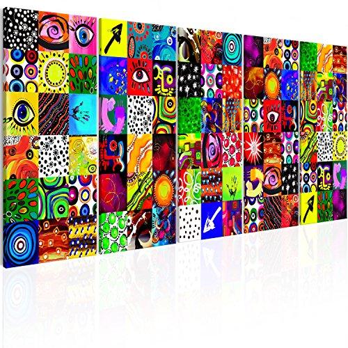 murando Handart Impression sur Toile intissee Abstrait en Couleurs 100x40 cm 5 Parties Encadree Tableaux pour la Mur Art Moderne Artistique Decoration Murale...