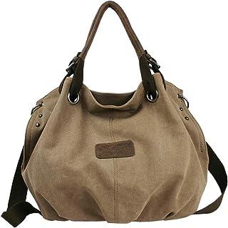 Unbekannt Bag Street Damen Umhängetasche Große geräumige Schultertasche aus Canvas in 2 Farben Grau oder Braun Braun