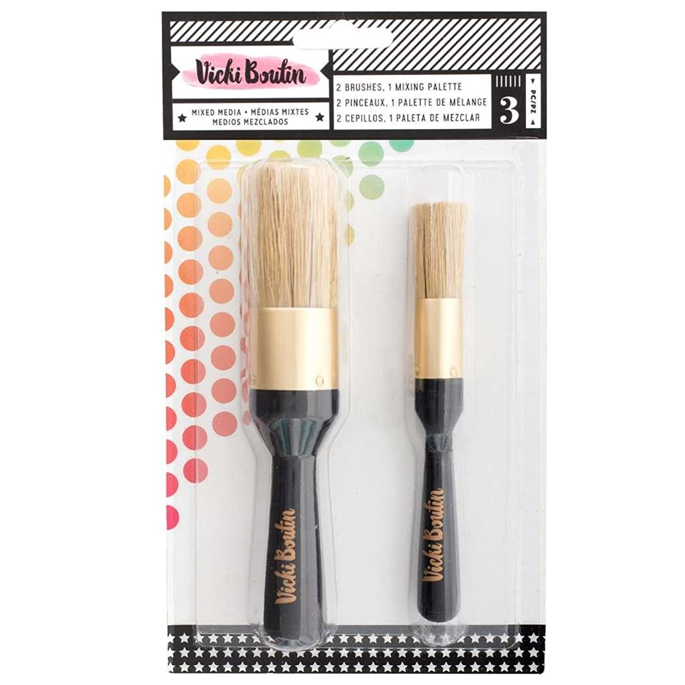 American Crafts Vicki Boutin Mixed Media Stencil Brush Set - All the Good Things Collection - Painting and Scrapbooking Supplies - Pack of 3
