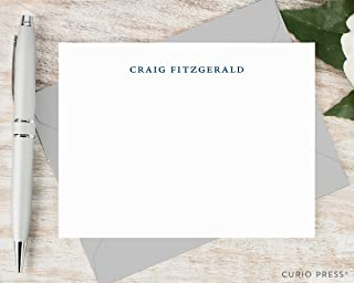 SIMPLICITY - Personalized Flat Stationery / Stationary Notecard And Envelope Set