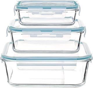 Secret de Gourmet - Lot de 3 boites de conservation carrées en verre clipeat