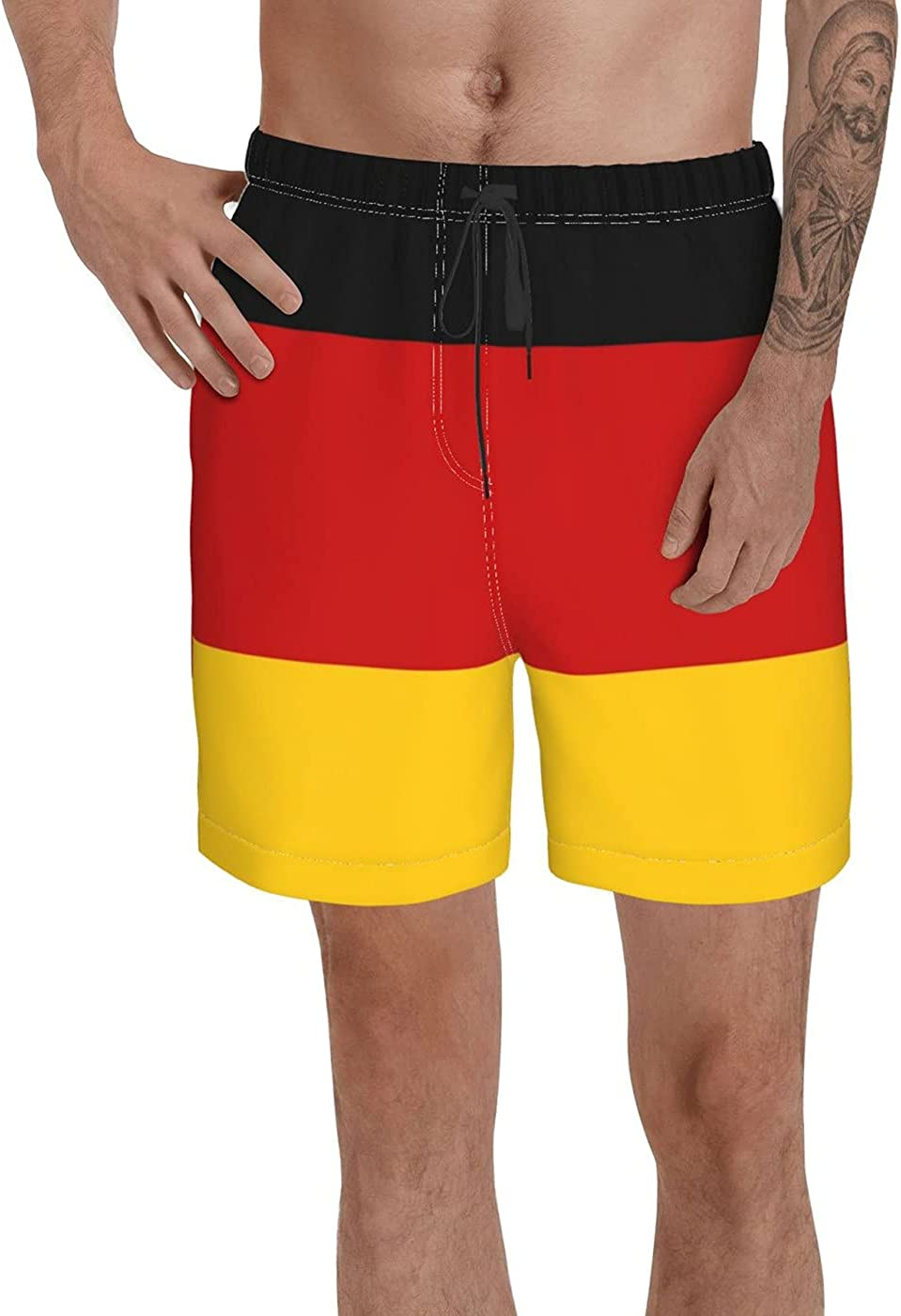 Count Germany Flag Men's 3D Printed Funny Summer Quick Dry Swim Short Board Shorts with