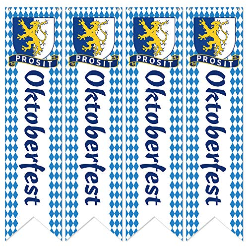 Banner de Pared Oktoberfest Bandera de Festival de Cervera de Bavarian de Alemán Banners de Banderines de Pared Oktoberfest para Decoración de Fiesta de Oktoberfest (4 Piezas)