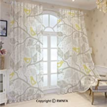 RWNFA Voile Sheer Curtains Birds on The Branch with Pastel Colored Leaves on Dotted Background Nature Art Home Grommets Sheer Curtain Drapes for Bedroom 52 x 84 Inch 2 Panels,Yellow Gray White