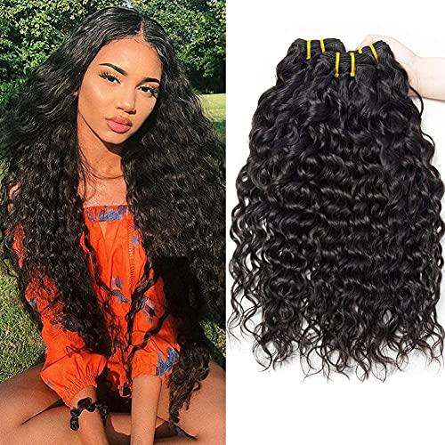 PF Hair 9A Brazilian Hair Bundles Water Wave Virgin Human Hair Weave Bundles Brasilianische Wasserwelle Menschliche Haare 3 Bündel 22 24 26 Zoll 300g Natürliche Schwarze Farbe