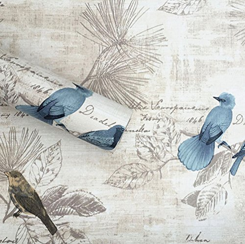SSamall Papel autoadhesivo para pájaros 45 cm x 2 m, película de vinilo de PVC para decoración de muebles