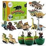 LIHAO 12 Coches Juguetes de Dinosaurios con Huevos Mini Coche de Carreras Juegos Vehículos Dinosaurios Realistas Juguetes Regalo para Niños 3 4 5 6 Años