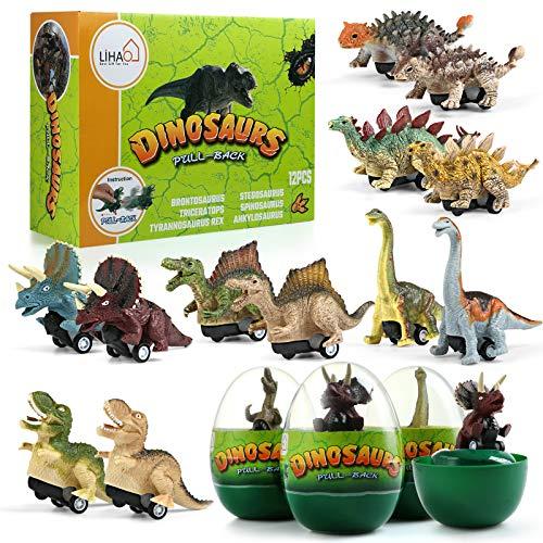 LIHAO 12 pz Dinosauro Giocattolo Kit Bambini T Rex Uova Auto Macchinina a Molla Toy Car Tirannosauro Figure Regalo Pasqua Compleanno Giocattolo Educativo Realistico Scuola