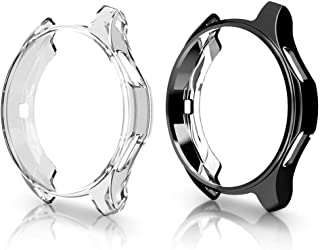 (2 Packs) Compatible Samsung Galaxy Watch 46mm Case 2018 (for SM-R805 and SM-R800 and Gear S3 Frontier SM-R760),Poowear Soft TPU Smart Shockproof Case Cover Bumper Protector (Clear and Black, 46mm)