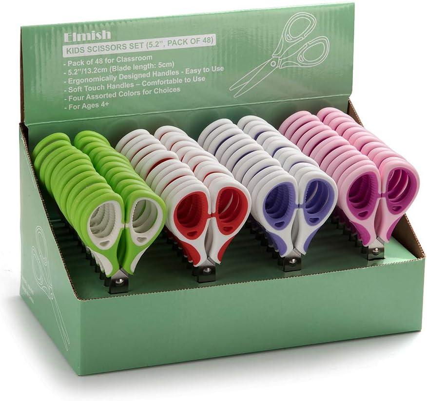 Elmish Kids Cheap New York Mall bargain Scissors 48 Count 5.2 Pack Rounded-tip In Teacher