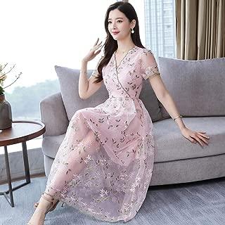 ABDKJAHSDK Plus Large Size M-3Xl 2019 Summer New Elegant V-Neck Short-Sleeved Flower Embroidery Ladies Long Gauze Dress