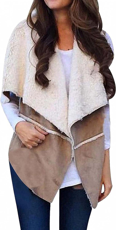 LEIYAN Womens Fuzzy Fleece Vest Lightweight Sleeveless Sherpa Jacket Fluffy Warm Outerwear Plus Size