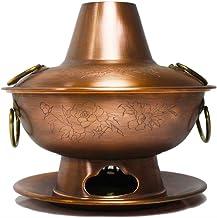 Hot Pot Charcoal Aspect Sculpté du Base Ventilée Étanche Pot Chaud Épicé en Cuivre Épaissi Fondues électriques (Color : B,...