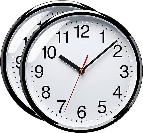 Plumeet 25 cm Reloj de Cuarzo de Pared silencioso, Decorativo para el hogar/la Cocina/la Oficina/la Escuela, fácil Le...