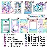 FEICHAIQAZ Cuaderno Coreano Lindo A6 Binder Journal Kawaii Bloc de Notas Diario Espiral Manual para niña Cuaderno de Notas Organizador de Anillo Organizador Papelería, Color Degradado, A6