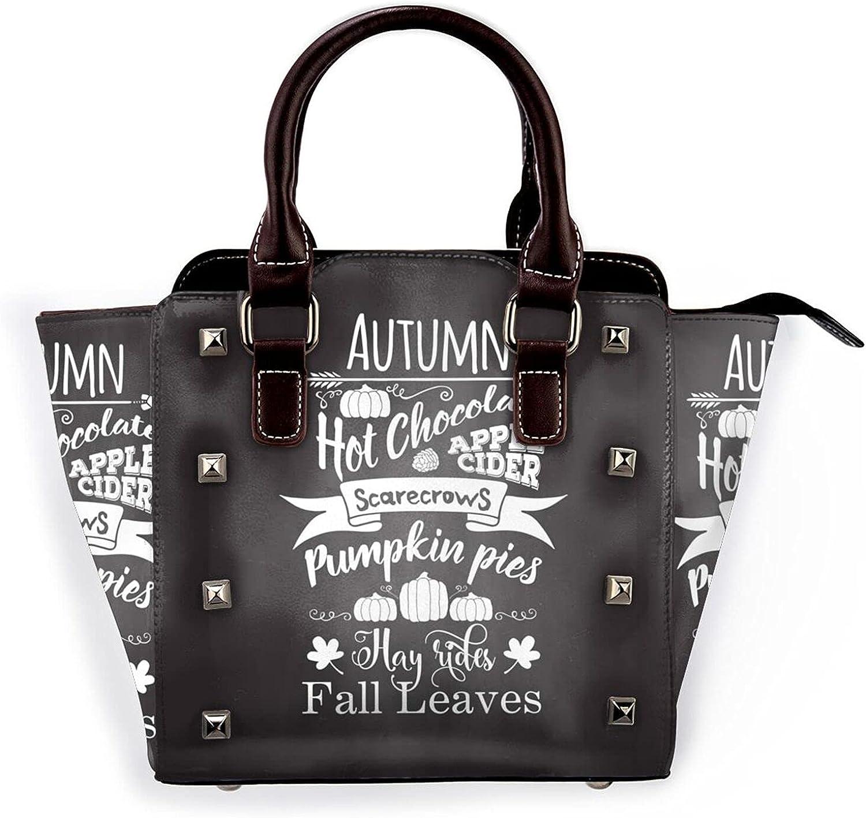 Autumn Fall Leaves Attention brand Leather Rivet Bag Purse Micr Handbag Shoulder Max 85% OFF