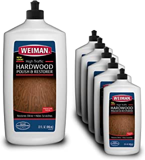 Weiman Wood Floor Polish and Restorer (6 Pack) 32 Ounce - High-Traffic Hardwood Floor, Natural Shine, Removes Scratches, Leaves Protective Layer