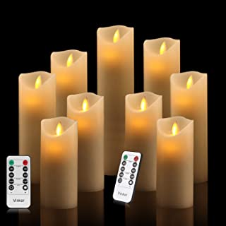"""Vinkor Flameless Candles Flickering Candles Decorative Battery Flameless Candle Classic Real Wax Pillar with Dancing LED Flame & 10-Key Remote Control 2/4/6/8 Hours Timers (Ivory 4"""" 5"""" 6"""" 7"""" 8"""" 9"""")"""