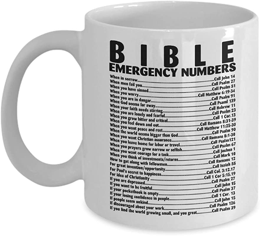 Mug Bible Emergency Number Quote Christian Verse Coffee Cup Funny Travel Gift For Grandma Grandpa Men Dad Women Mom 11 Oz White Ceramic