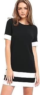 SheIn Women's Patchwork Short Sleeve Shift Tunic Dress