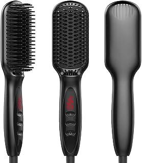 Hair Straightening Brush KAMLE Made of MCH Ceramic Technology - Ionic Hair Straightener Brush 30s Fast Heating with Anti-S...