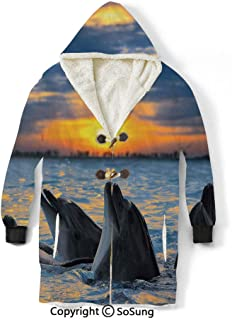 Animal Blanket Sweatshirt,Photo of the Bottle Nosed Dolphins in Sunset Light Ocean Sea Animals Aquatic Wearable Sherpa Hoodie,Warm,Soft,Cozy,XL,for Adults Men Women Teens Friends,Blue Grey Orange