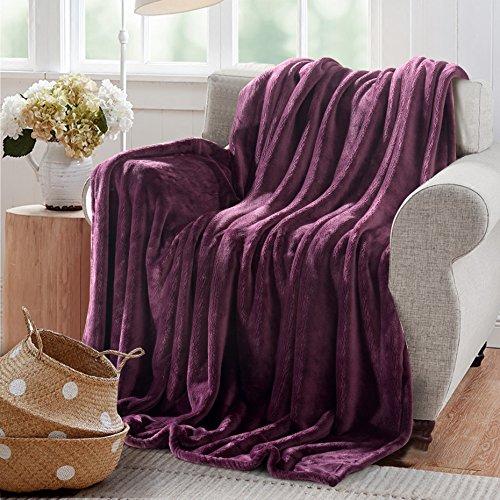 Reafort Ultra Soft Flannel Fleece All Season 350GSM Light Weight Living Room/Bedroom Warm Throw Blanket (Purple, Twin 66'X90')