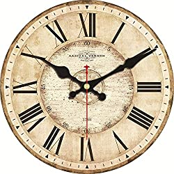 ShuaXin 6 Inch Small Wall Clock,Simple French Style Khaki Wood Wall Clock,Big Numerals Easy to Read Wall Clocks for Kids Room,Children Room Decoration