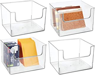 """$59 » mDesign Plastic Open Front Home Office Storage Bin Container, Desk Organizer Tote - for Storing Gel Pens, Erasers, Tape, Pens, Pencils, Highlighters, Markers - 12"""" Wide - 4 Pack - Clear"""