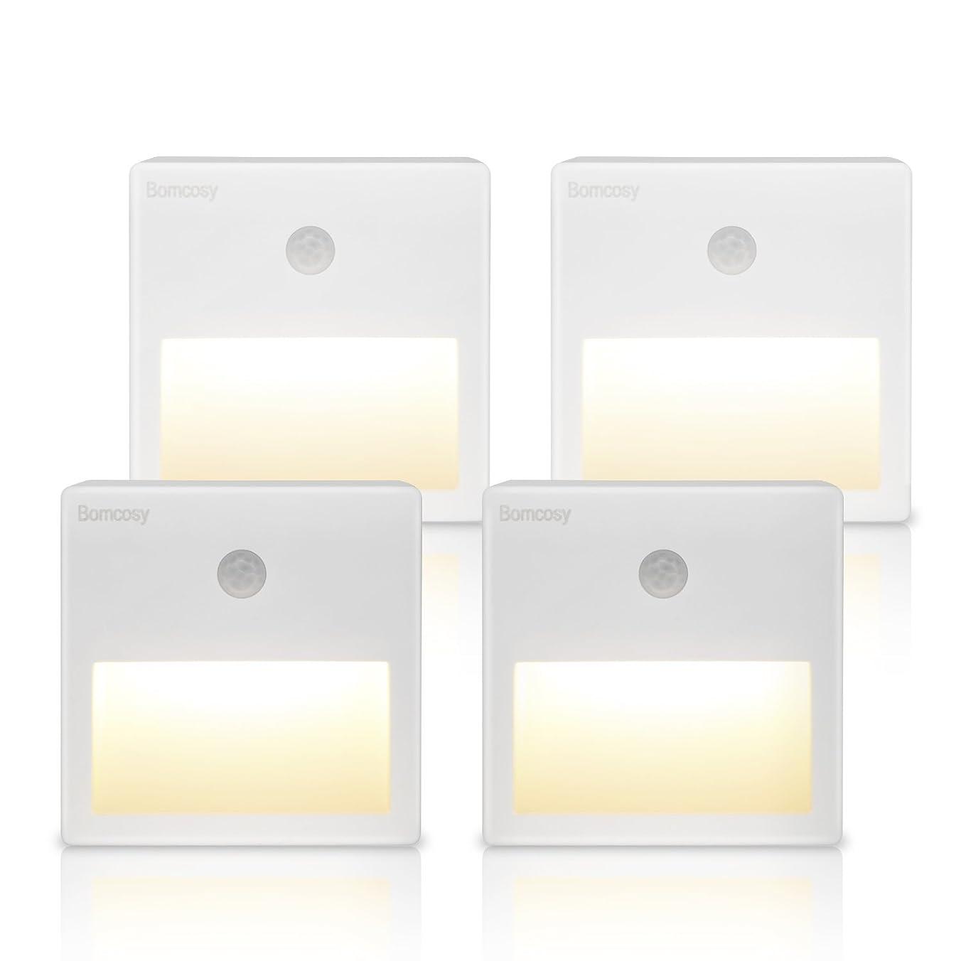宮殿クリークホールドBomcosy LED足元灯 赤外線センサーライト LEDライト 室内階段下 廊下 部屋 キッチン用常夜灯 貼り付けusb充電式 小型軽い夜間ライト 消費電力が0.4w 超省エネ 暖光色3000K USB 接口 4個セット …