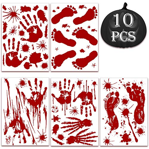 10 Stück Halloween Blutige Aufkleber, 43 x 30 cmBlutiger Handabdruck Fußabdrücken Horror Sticker, für Halloween Karneval Party Dekorations