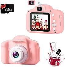 دوربین فیلمبرداری کودکان Podokas Selfie Dual Lens Shockproof Digital 1080P HD فیلمبرداری ، هدایای تولد جذاب برای دختران نوپا سن 3-10 اسباب بازی بازی قابل حمل با کارت SD 32G (صورتی)