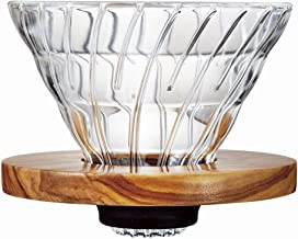 Hario V60 Glass Coffee Dripper, Size 02, Olive Wood