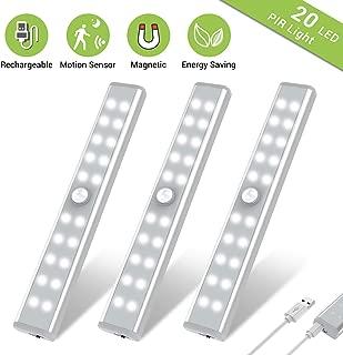 Wardrobe Light, OxyLED Motion Sensor Closet Lights, 20 LED Under Cabinet Lights, USB Rechargeable Stick-on Stairs Step Light Bar, LED Night Light, Safe Light with Magnetic Strip, 3-Pack, T-02U