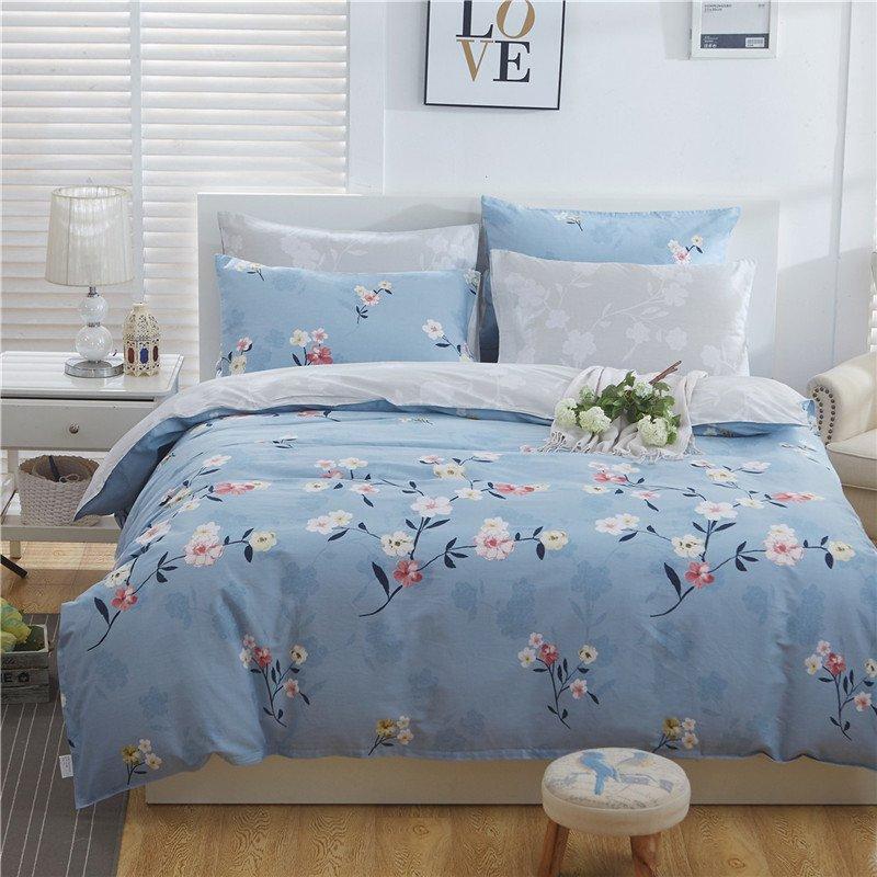 可慕家纺 蕙质系列 加密精梳棉全棉四件套 纯棉床单 床品套件床上用品 床上四件套全棉 F (被套2*2.3m床单2.3*2.5m, 袅袅心香)