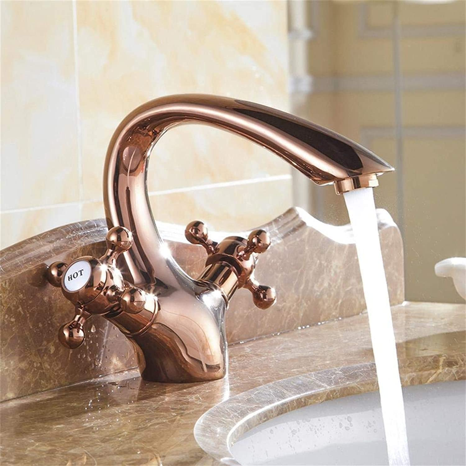 DYR Faucet Antique Brass pink gold Faucet, Retro Single-hole Hot and Cold Water Tap Sink Faucet