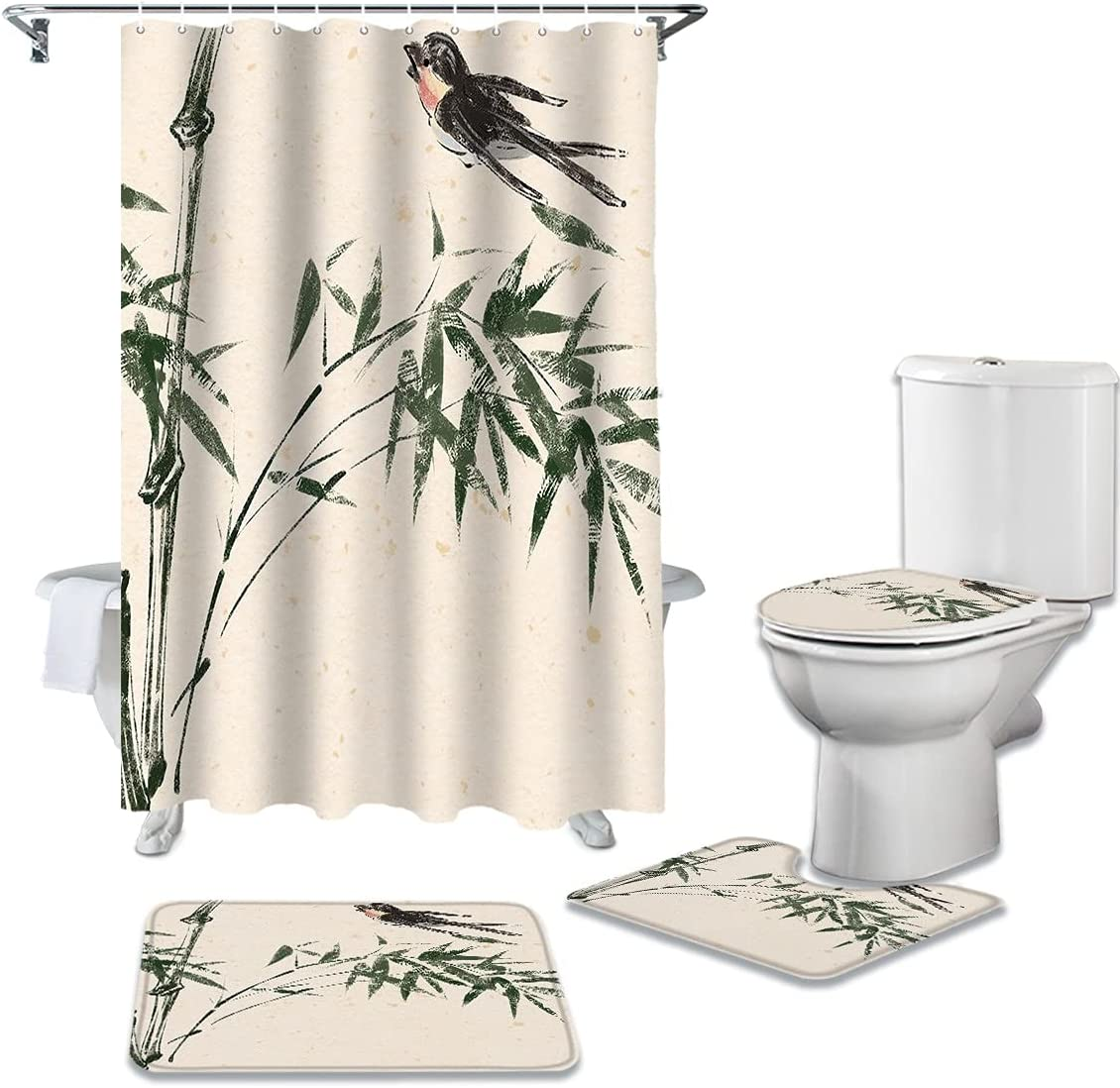dodouna Spring Bamboo Swallow Ink safety Waterproof Fabri free shipping Style Chinese