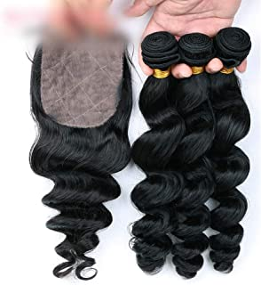 Natural Hairpieces Deep Wave Human Hair With Closure Bundles With Free Part Lace Closure 4 * 4inch 100% Real Extensions Hair (Color : Black, Size : 20 inch)