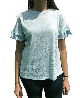 HYFVE Womens Short Ruffle Sleeve Knit Top