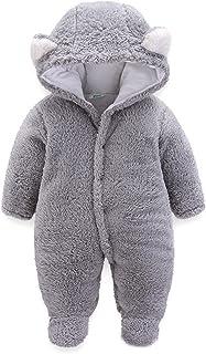 الخريف الشتاء الوليد مقنعين السروال القصير سميكة طفل رضيع الفتيات الفتيان الدافئة بذلة الصوف الزي (Color : Gray, Size : 3M)