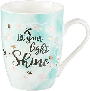 Cute Inspirational Coffee/Tea Mug for Women | Let Your Light Shine Mathew 5:16 Bible Verse Motivational Mug | Pastel Mint Ceramic Coffee Cup 11oz