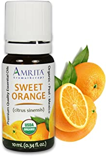 Amrita Aromatherapy Organic Orange Sweet Essential Oil, 100% Pure Undiluted Citrus sinensis, Therapeutic Grade, Premium Qu...
