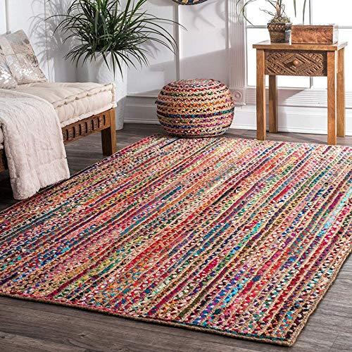 InicioDecorBoutique - Alfombras indias de algodón trenzado y yute multicolor (5 pies x 8 pies)